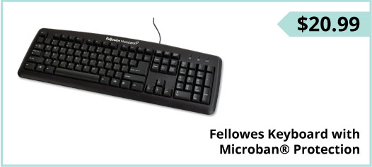 Fellowes Keyboard with Microban® Protection, $20.99