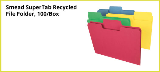 Smead SuperTab Recycled File Folder, 100/Box