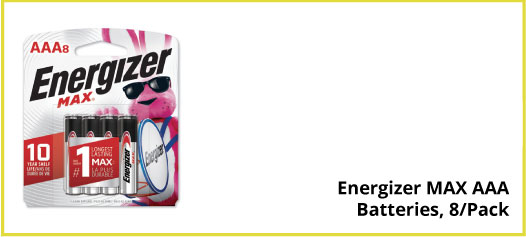 Energizer MAX AAA Batteries, 8/Pack